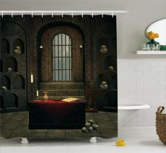 Kuru Kafalı Oda Temalı Duş Perdesi Kahverengi Kitap