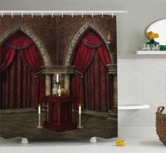 Gotik Temalı Duş Perdesi Bordo Antik Oda Mum Kapı