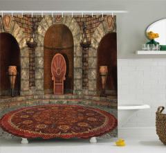 3D Etkili Duş Perdesi Gotik Antik Oda Kahverengi