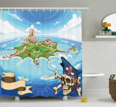 Korsan Adası Temalı Duş Perdesi Mavi Deniz Kuru Kafa