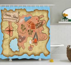 Hazine Haritası Temalı Duş Perdesi Kahverengi Mavi