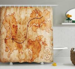 Antik Temalı Duş Perdesi Hazine Haritası Desenli Bej