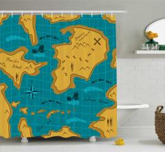 Macera Haritası Temalı Duş Perdesi Mavi Sarı Deniz