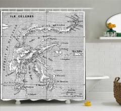 Nostaljik Harita Desenli Duş Perdesi Antik Gri Deniz