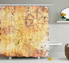 Antik Harita Desenli Duş Perdesi Sarı Nostaljik