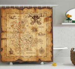 Korsan Haritası Temalı Duş Perdesi Kahverengi Hazine