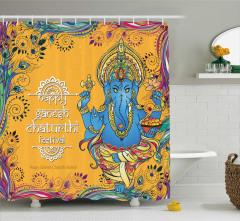 Hint Mavi Fil Desenli Duş Perdesi Sarı Arka Planlı
