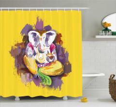Hint Etkili Fil Desenli Duş Perdesi Sarı ve Mor Fon
