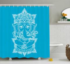 Beyaz Hint Tarzı Fil Desenli Duş Perdesi Mavi Fonlu
