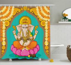 Hint Sarı Mavi Fil Desenli Duş Perdesi Pembe Lotuslu