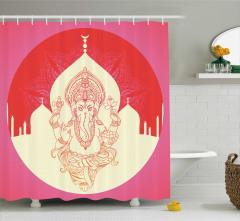Hint Tarzı Fil Desenli Duş Perdesi Kırmızı ve Pembe