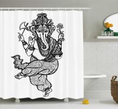 Siyah Beyaz Fil ve Çiçek Desenli Duş Perdesi Hint