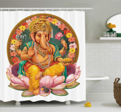 Hint Tarzı Fil Desenli Duş Perdesi Rengarenk Çiçekli