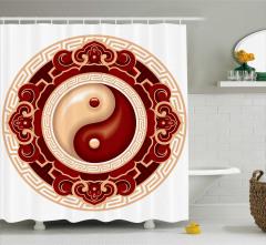 Yin Yang Sembolü Duş Perdesi Bordo Modern Sanat
