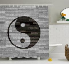 Yin Yang Sembollü Duş Perdesi Asya Kültür Gri Siyah