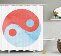 Beyaz Duş Perdesi Yin Yang Sembolü Turuncu Mavi