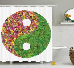 Yin Yang Sembolü Duş Perdesi Yaprak Rengarenk Çiçek
