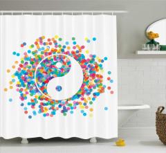 Rengarenk Duş Perdesi  Yin Yang Sembolü Beyaz