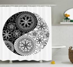 Siyah Beyaz Duş Perdesi Çiçekli Yin Yang Sembolü
