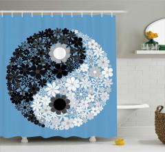 Çiçekli Yin Yang Sembolü Duş Perdesi Mavi Beyaz
