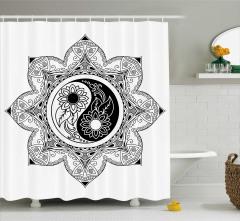 Siyah Beyaz Duş Perdesi Yin Yang Sembollü Mandala