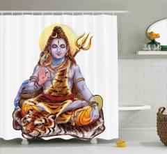 Kaplan ve Shiva Desenli Duş Perdesi Dini Hint Etkili