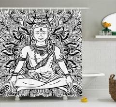 Çiçek Kobra ve Shiva Desenli Duş Perdesi Hint Etkili