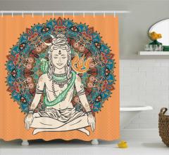 Çiçekli Shiva ve Kobra Desenli Duş Perdesi Krem Mavi