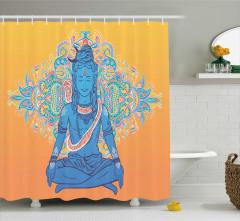 Hint Etkili Dini Desenli Duş Perdesi Sarı Mavi Pembe