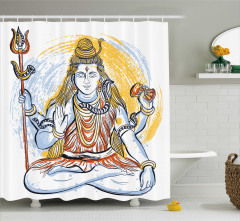 Sarı Mavi Dini Shiva Desenli Duş Perdesi Hint Etkili