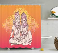 Turuncu Tanrı ve Tanrıça Desenli Duş Perdesi Hint