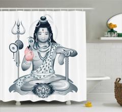 Hint Tanrısı Kaplan ve Kobra Desenli Duş Perdesi Gri