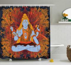 Alev Efektli Hint Tanrısı Desenli Duş Perdesi Sarı