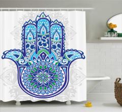 Mavi Yeşil Fatımanın Eli Desenli Duş Perdesi Dini