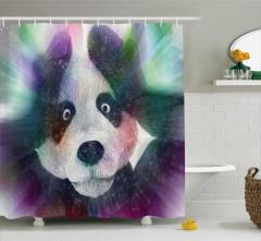 Panda ve Işık Hüzmesi Desenli Duş Perdesi Çocuk İçin