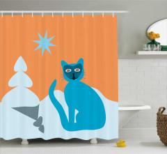 Mavi Kedi ve Kalp Ağaç Desenli Duş Perdesi Çocuklara