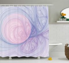 Modern Girdap Desenli Duş Perdesi Mavi Pembe ve Mor