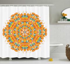 Şık Çiçek Desenli Duş Perdesi Turuncu Sarı ve Mavi