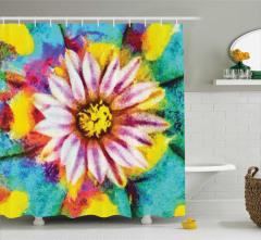 Sarı Mor Çiçek Desenli Duş Perdesi Mavi Arka Planlı