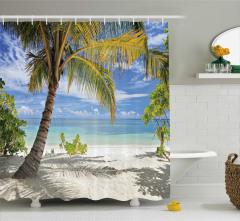 Tropik Ada Manzaralı Duş Perdesi Okyanus Palmiye