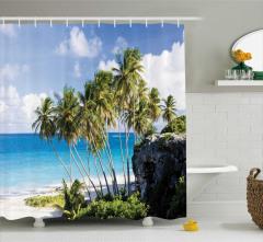 Tropik Ada Manzaralı Duş Perdesi Egzotik Sahil Deniz