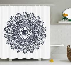 Göz ve Dairesel Çiçek Desenli Duş Perdesi Mavi Beyaz