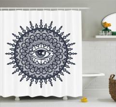 Şık Göz ve Güneş Desenli Duş Perdesi Gri ve Beyaz