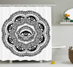 Modern Göz ve Yaprak Desenli Duş Perdesi Siyah Beyaz