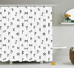 Siyah Semboller Desenli Duş Perdesi Beyaz Arka Plan