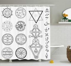 Mistik Sembol ve Pentagram Desenli Duş Perdesi Beyaz