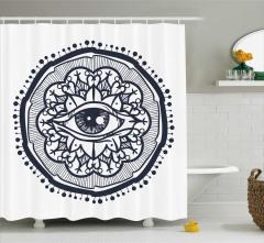 Göz ve Çiçekli Güneş Desenli Duş Perdesi Dekoratif