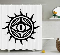 Şık Göz ve Güneş Desenli Duş Perdesi Siyah ve Beyaz
