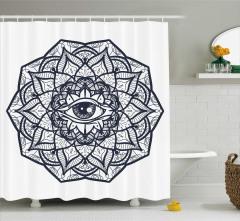 Göz Merkezli Çiçek Desenli Duş Perdesi Şık Tasarım