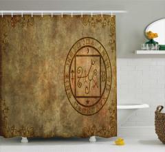 Mistik Sembol Desenli Duş Perdesi Bej Kahverengi